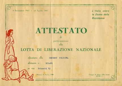 8/3/1948: Attestato di partecipazione alla lotta di liberazione nazionale -