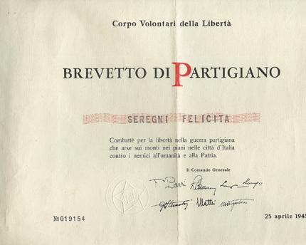25/4/1945 - Brevetto di Partigiano