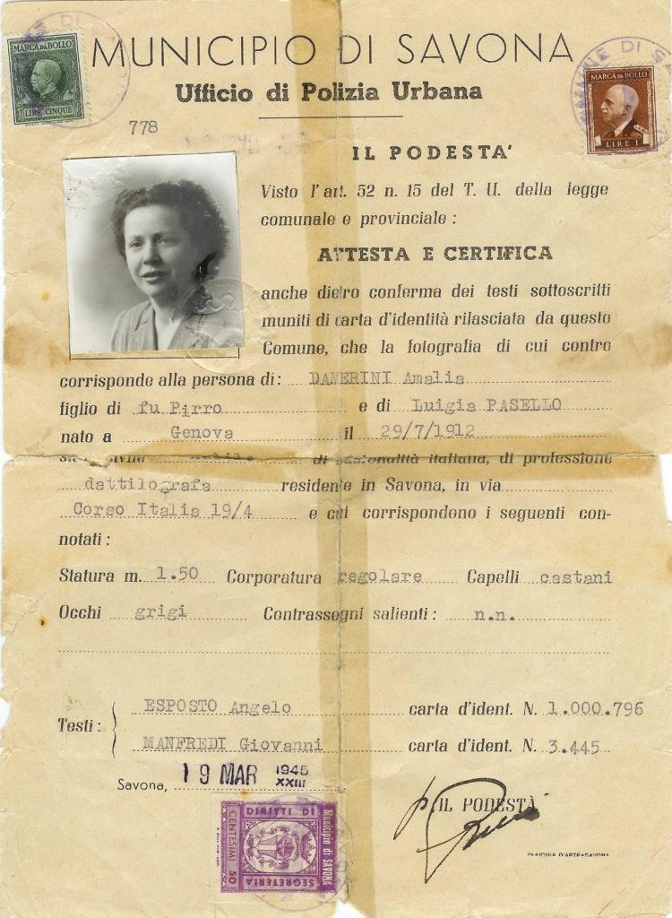 Documento identità Savona