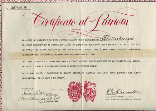 Certificato di patriota a firma del Comandante delle forze alleate in Italia, Generale Alexander