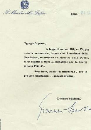 Concessione del Diploma d'onore al combattente per la libertà d'Italia