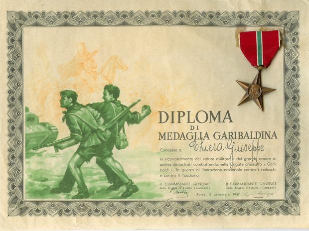 8 settembre 1947 - Diploma di medaglia garibaldina