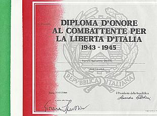 17/7/1984: Diploma d'onore a firma del Presidente della Repubblica Sandro Pertini