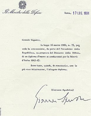 17/7/1984: Concessione del Diploma d'onore al combattente per la libertà d'Italia