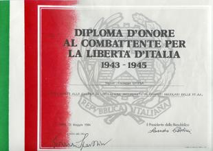 Diploma d'onore al combattente per la libertà d'Italia a firma del Presidente della Repubblica Sandro Pertini