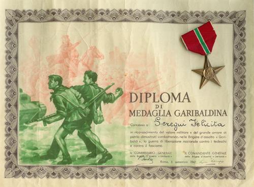 8/9/1947: Diploma di medaglia garibaldina