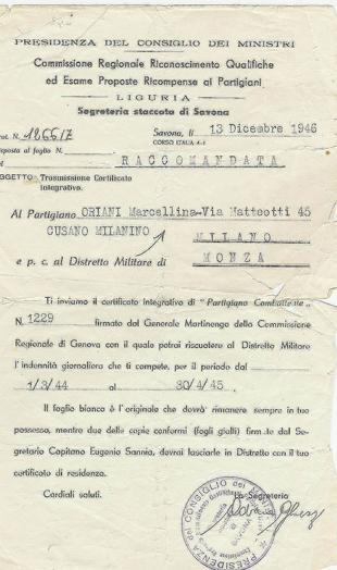 Riconoscimento dalla Presidenza del Consiglio dei Ministri del ruolo di partigiana dal 1° marzo 1944 al 30 aprile 1945