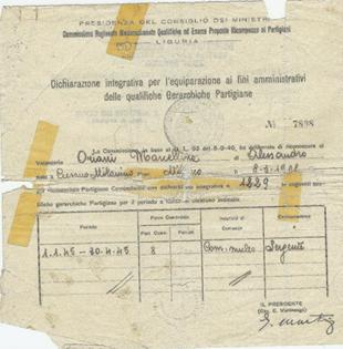 Riconoscimento del ruolo di sergente dal 1/1/1945 al 30/4/1945