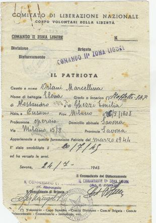 Dichiarazione di smobilitazione, dove viene indicato il ruolo di staffetta SAP (Squadre di Azione Partigiana) dal marzo del 1944