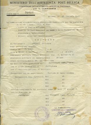 Riconoscimento di partigiana dal novembre 1943 al 25/4/1945