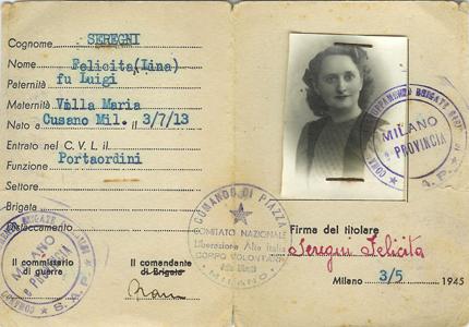 Tessera CLNAI - intestata ad Ada Rossi - 27 aprile 1945