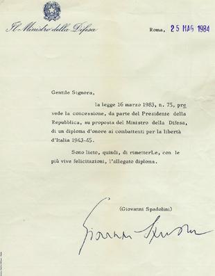 9/10/1984 Concessione del Diploma d'onore al combattente
