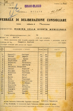 14/4/1946: Delibera del Consiglio Comunale