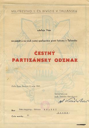 Attestato cecoslovacco