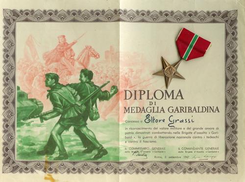 Diploma di medaglia garibaldina